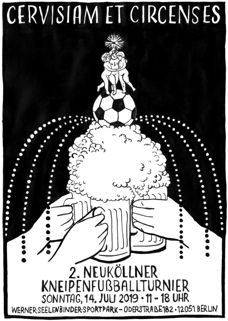 Plakat für das 2. Neuköllner Kneipenfußballturnier