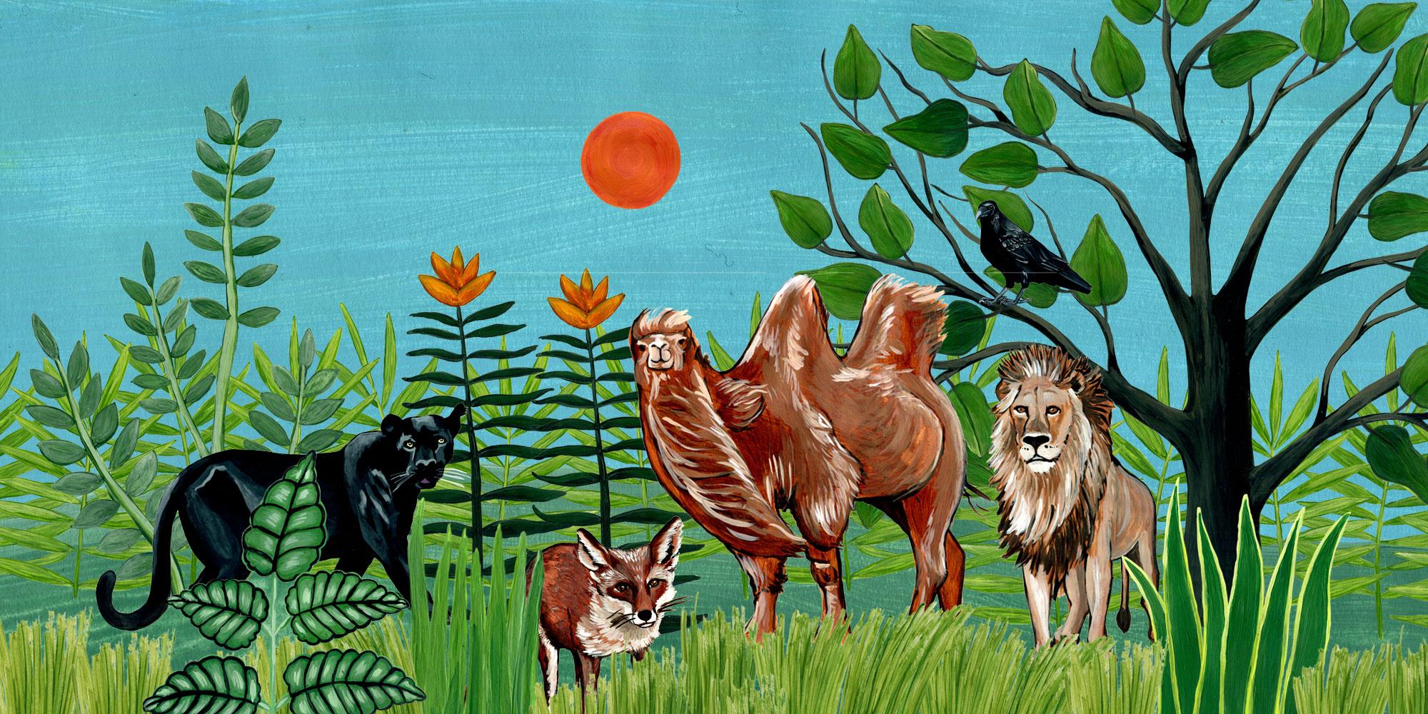Kamel, Panther, Fuchs, Löwe und Rabe